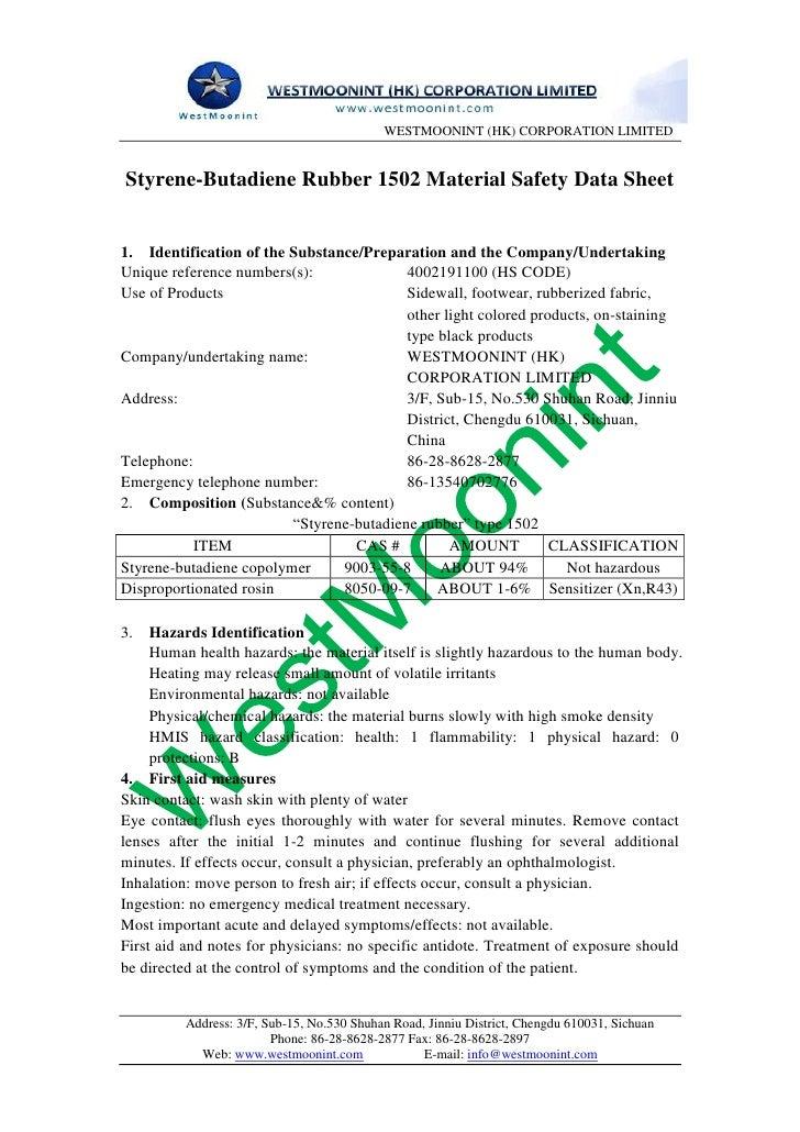 Styrene butadiene rubber 1502 material safety data sheet