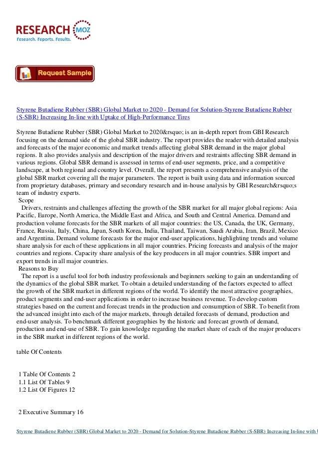 Styrene Butadiene Rubber (SBR) Global Market to 2020 - Demand for Solution-Styrene Butadiene Rubber (S-SBR) Increasing In-...
