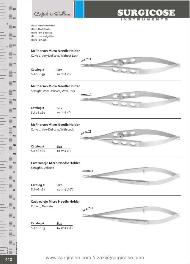 """10 cm ( 4"""") Catalog # SU-06-159 Size McPherson Micro Needle Holder Curved,Very Delicate,Without Lock 10 cm ( 4"""") Catalog #..."""