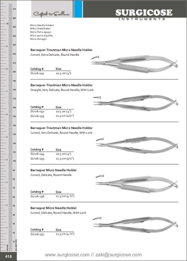 """11.5 cm (4 ½"""") Catalog # SU-06-196 Size Barraquer Micro Needle Holder Curved, Delicate, Round Handle 11.5 cm (4 ½"""") Catalo..."""