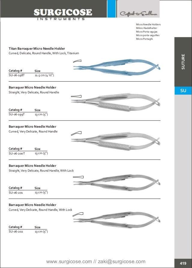 """11.5 cm (4 ½"""") Catalog # SU-06-198T Size Titan Barraquer Micro Needle Holder Curved, Delicate, Round Handle,With Lock,Tita..."""