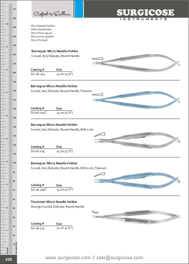 """12 cm (4 ¾"""") Catalog # SU-06-207 Size Troutman Micro Needle Holder Strongly Curved, Delicate, Round Handle 14 cm (5 ½"""") Ca..."""
