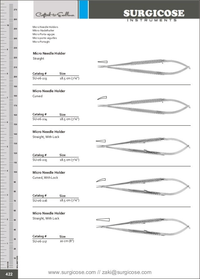 "18.5 cm (7 ¼"") SizeCatalog # SU-06-213 Micro Needle Holder Straight 18.5 cm (7 ¼"") Catalog # SU-06-214 Size Micro Needle H..."