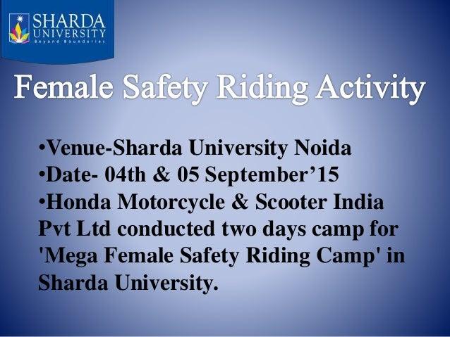 MEGA FEMALE SAFETY RIDING CAMP AT SHARDA UNIVERSITY Slide 2