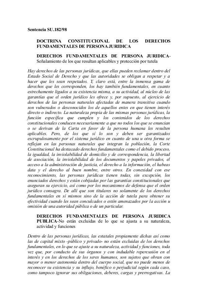 Sentencia SU.182/98     DOCTRINA CONSTITUCIONAL DE LOS                              DERECHOS     FUNDAMENTALES DE PERSONA ...