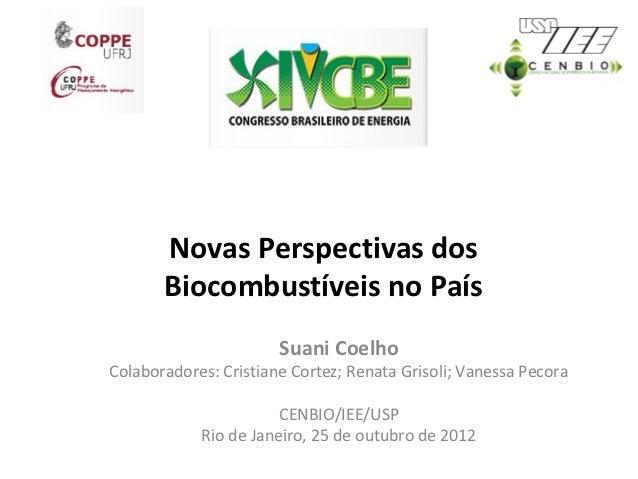 Novas Perspectivas dos       Biocombustíveis no País                       Suani CoelhoColaboradores: Cristiane Cortez; Re...