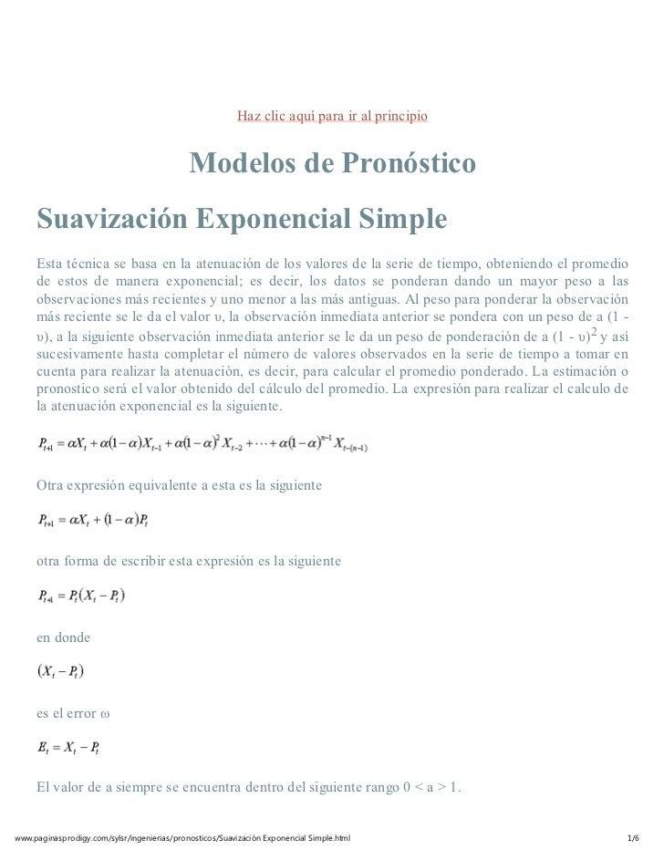 Haz clic aquí para ir al principio                                             Modelos de Pronóstico     Suavización Expon...