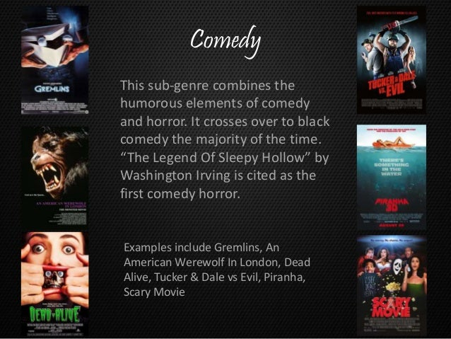 the slasher film is a sub genre A horror film is a film dominated by elements of horror this film genre incorporates a number of sub-genres and repeated themes , such as slasher themes, vampire themes, zombie themes, demonic possession, alien mind control, evil children , cannibalism , werewolves , animals attacking humans, haunted houses, etc.