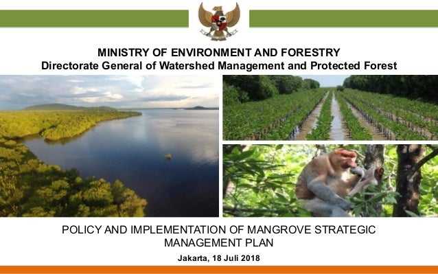 POLICY AND IMPLEMENTATION OF MANGROVE STRATEGIC MANAGEMENT PLAN Jakarta, 18 Juli 2018 MINISTRY OF ENVIRONMENT AND FORESTRY...