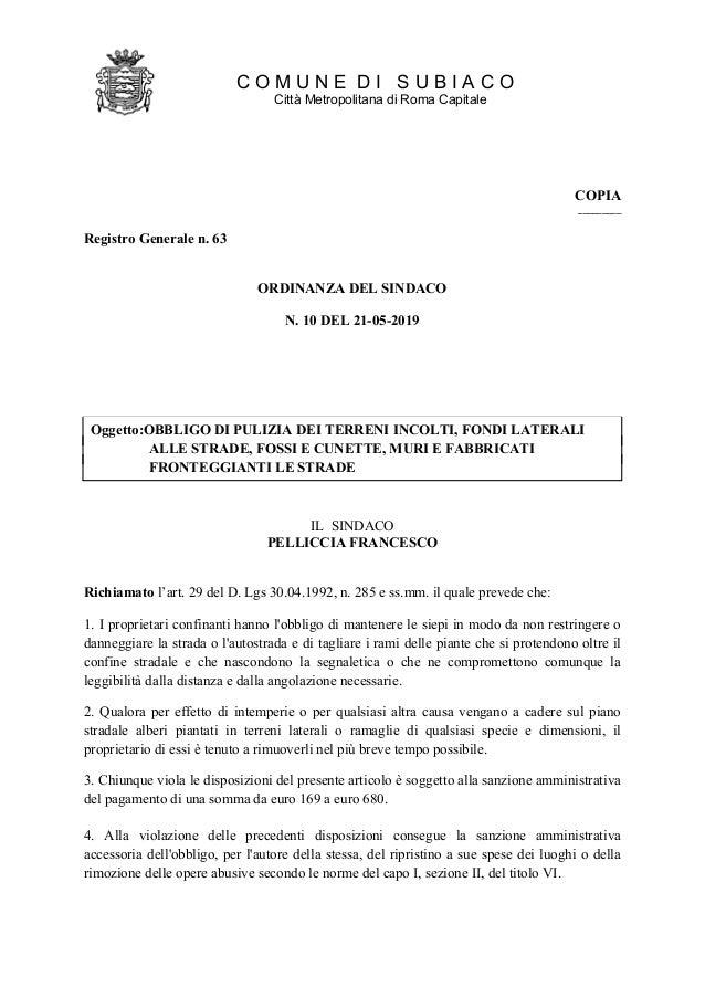 COMUNE DISUBIACO CittàMetropolitanadiRomaCapitale Oggetto:OBBLIGODIPULIZIADEITERRENIINCOLTI,FONDILATERALI ALLESTRADE,FOSSI...