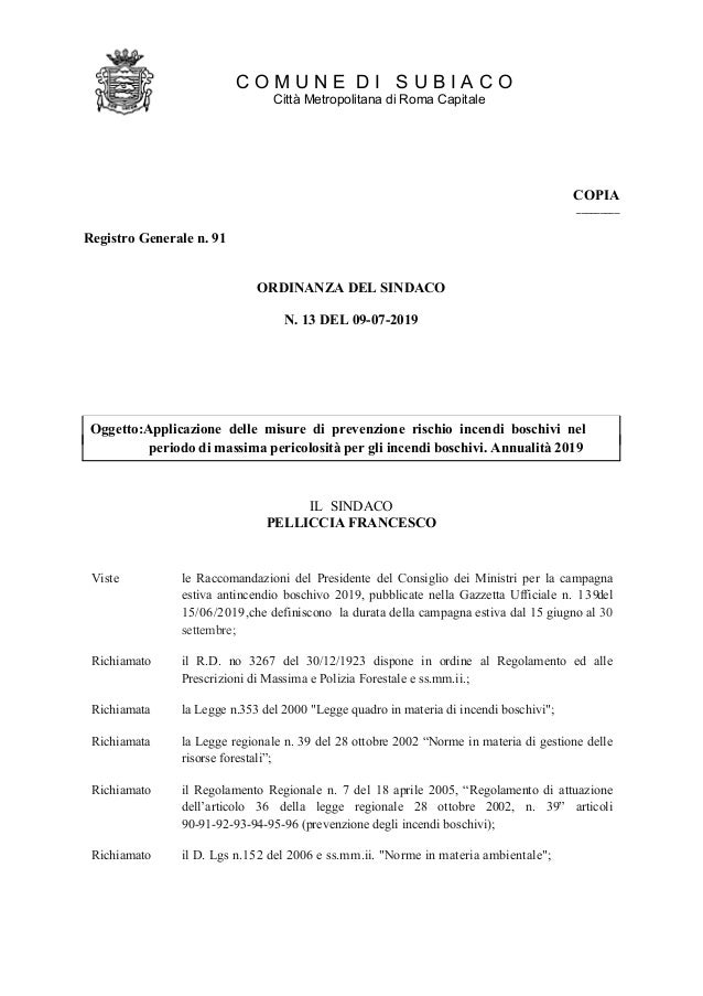 COMUNE DISUBIACO CittàMetropolitanadiRomaCapitale COPIA _________ RegistroGeneralen.91 ORDINANZADELSINDACO N.13DEL09-07-20...