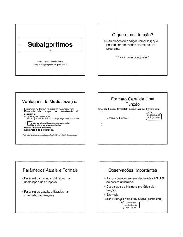 1 Subalgoritmos Profª. Leticia Lopes Leite Programação para Engenharia I O que é uma função? São blocos de códigos (módulo...