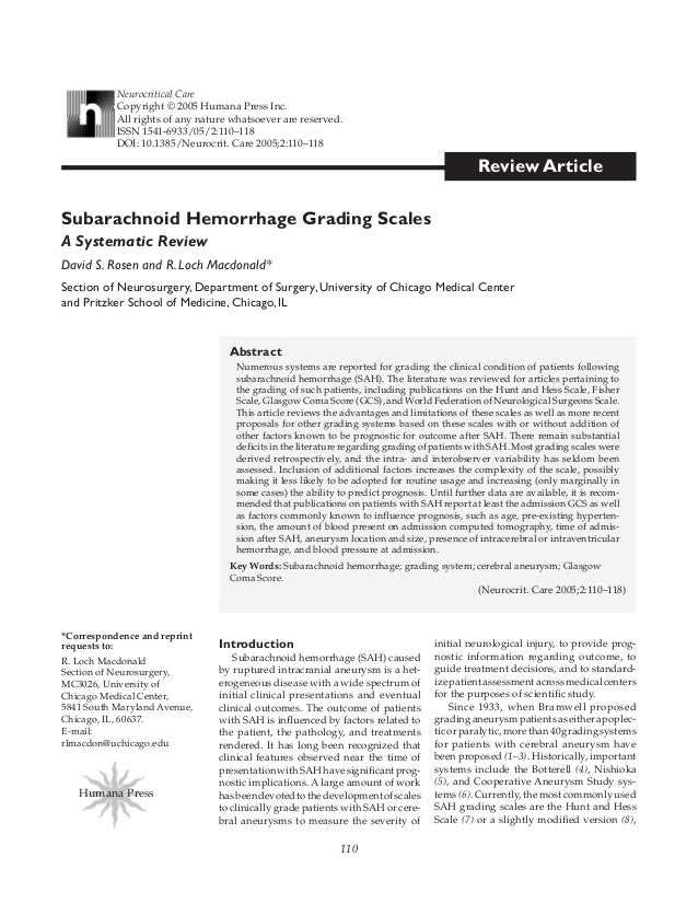 110 Review Article Abstract Numerous systems are reported for grading the clinical condition of patients following subarac...