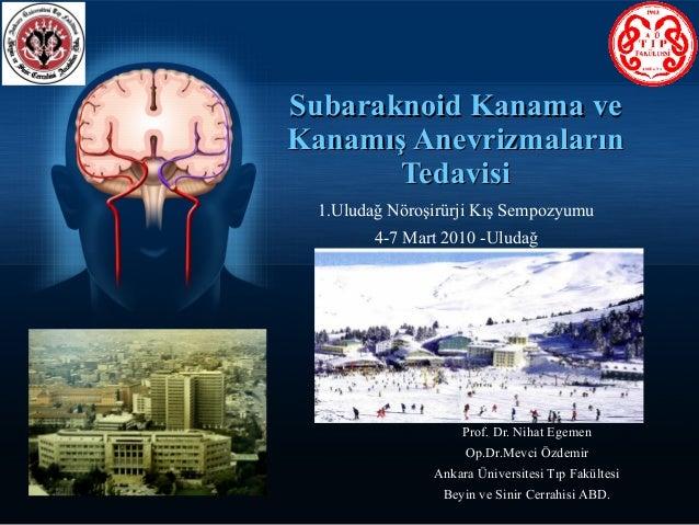 Subaraknoid Kanama veKanamış Anevrizmaların       Tedavisi  1.Uludağ Nöroşirürji Kış Sempozyumu         4-7 Mart 2010 -Ulu...