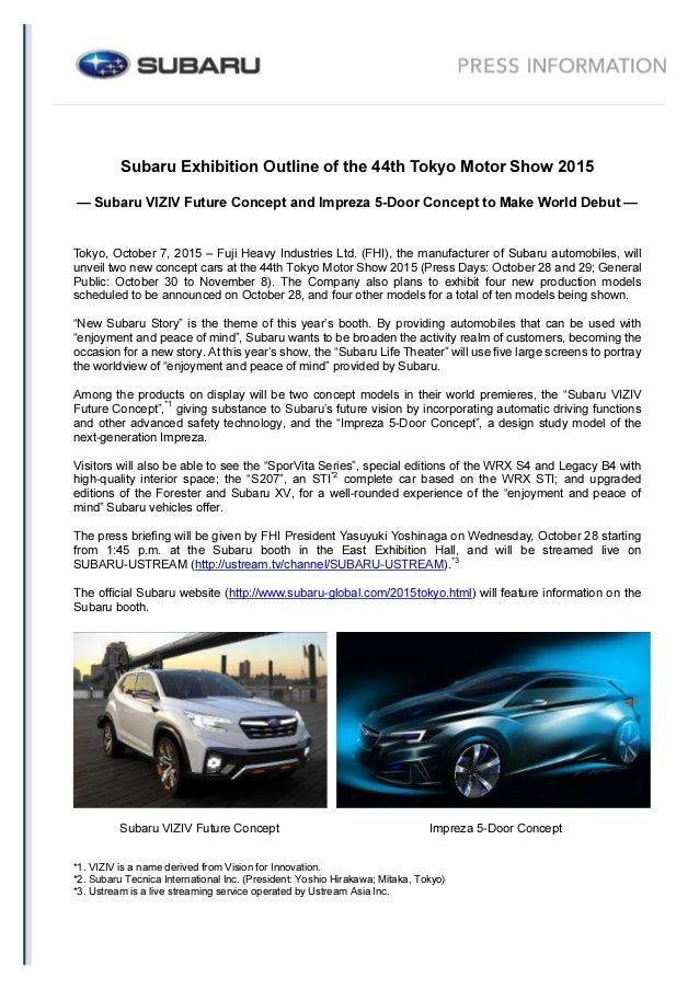Subaru At 2015 Tokyo Motor Show