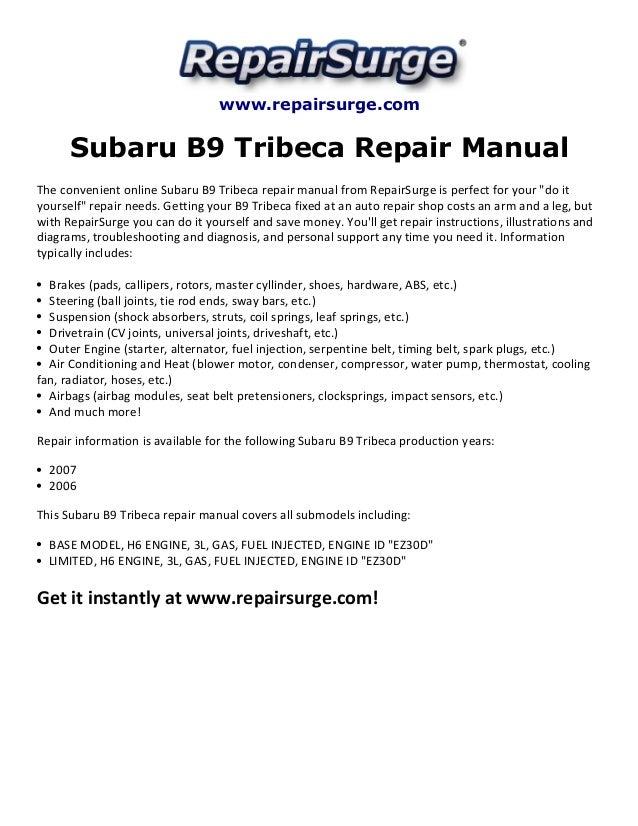 Subaru B Tribeca Repair Manual on 2006 Subaru B9 Tribeca Parts Diagram