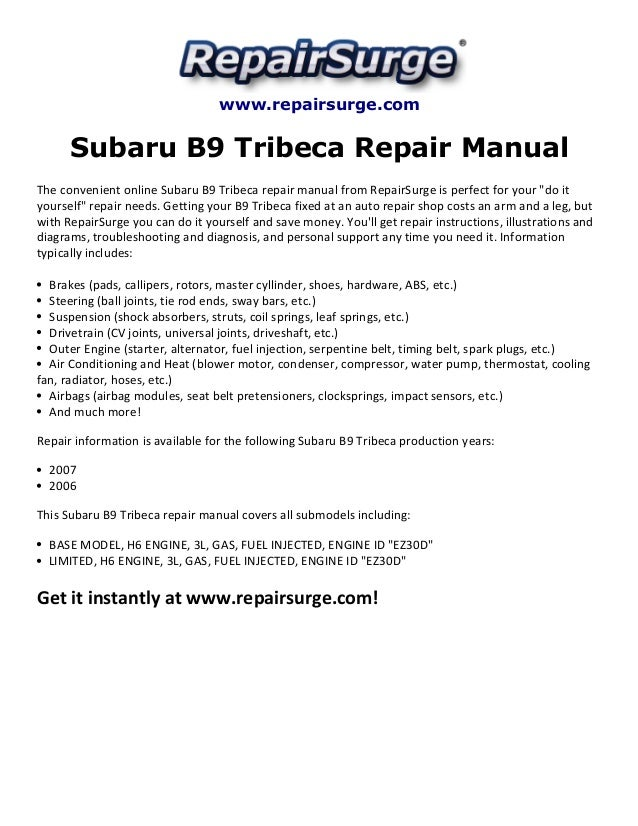 Subaru B9 Tribeca Repair Manual 2006 2007
