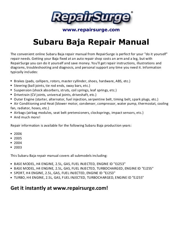 subaru baja repair manual 2003 2006 rh slideshare net subaru baja service manual pdf subaru baja service manual pdf