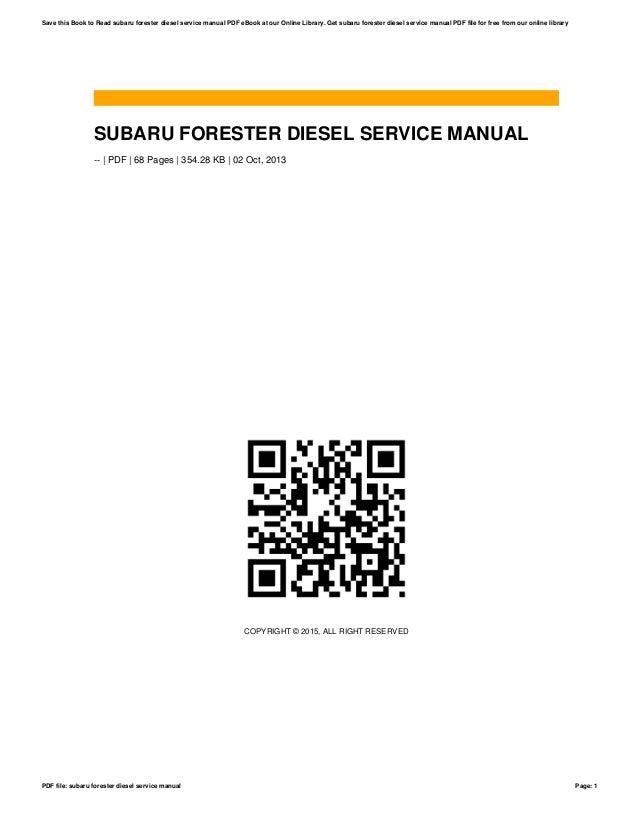 Pdf manual forester subaru service