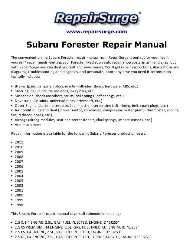 subaru forester repair manual 1998 2011 rh slideshare net 2001 Forester 2001 Forester