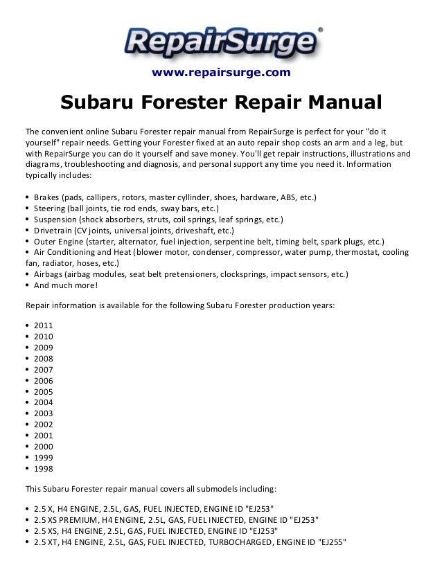 subaru forester repair manual 1998 2011 rh slideshare net 98 forester repair manual 1998 forester service manual