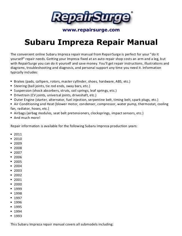 [EQHS_1162]  Subaru impreza repair manual 1993 2011 | 1993 Subaru Impreza Engine Diagram |  | SlideShare