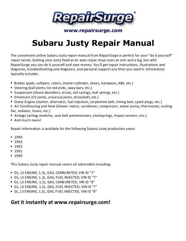 subaru justy repair manual 1990 1994 subaru justy rs www repairsurge com subaru justy repair manual the convenient online subaru justy repair manual