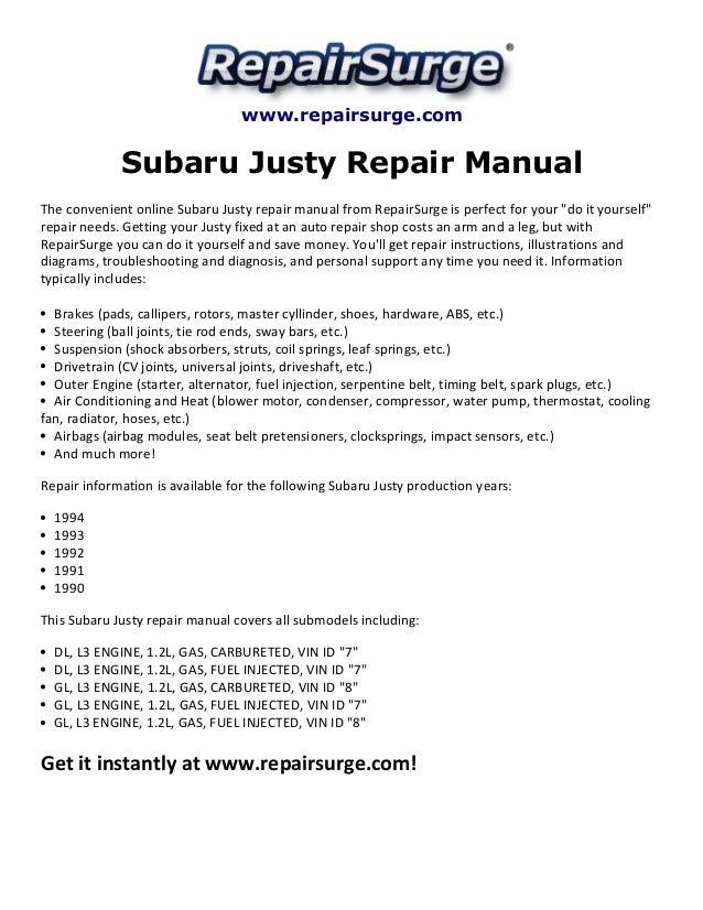 Subaru justy repair manual 1990 1994SlideShare