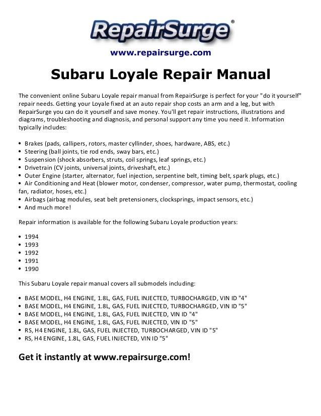 Repairsurge Subaru Loyale Repair Manual The Convenient Online: 1992 Subaru Loyale Engine Diagram At Executivepassage.co