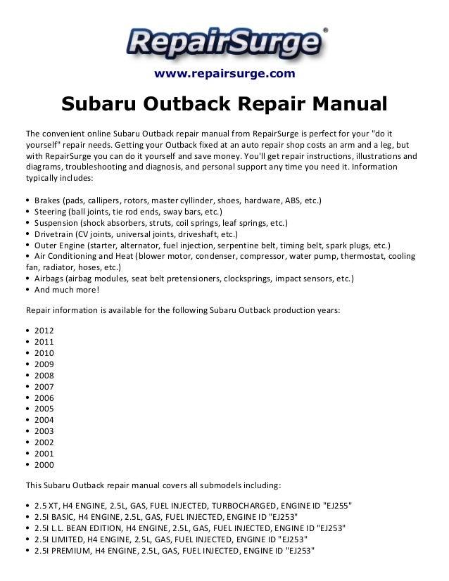 subaru outback repair manual 2000 2012 rh slideshare net  subaru outback repair manual 2017