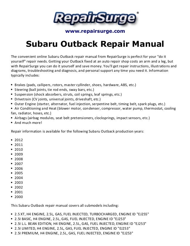 Subaru Outback Repair Manual 2000 2012