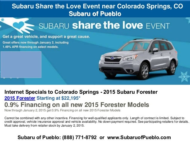 Subaru 0 Financing >> Subaru Share The Love Event To Colorado Springs 2015