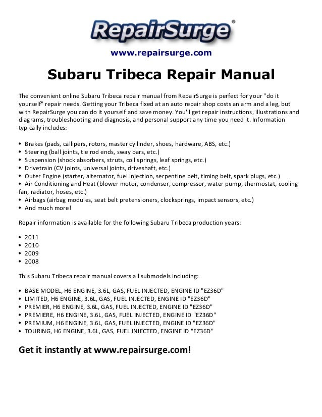 subaru tribeca repair manual 2008 2011 rh slideshare net 2008 Subaru Tribeca Inside 2008 subaru tribeca owner's manual