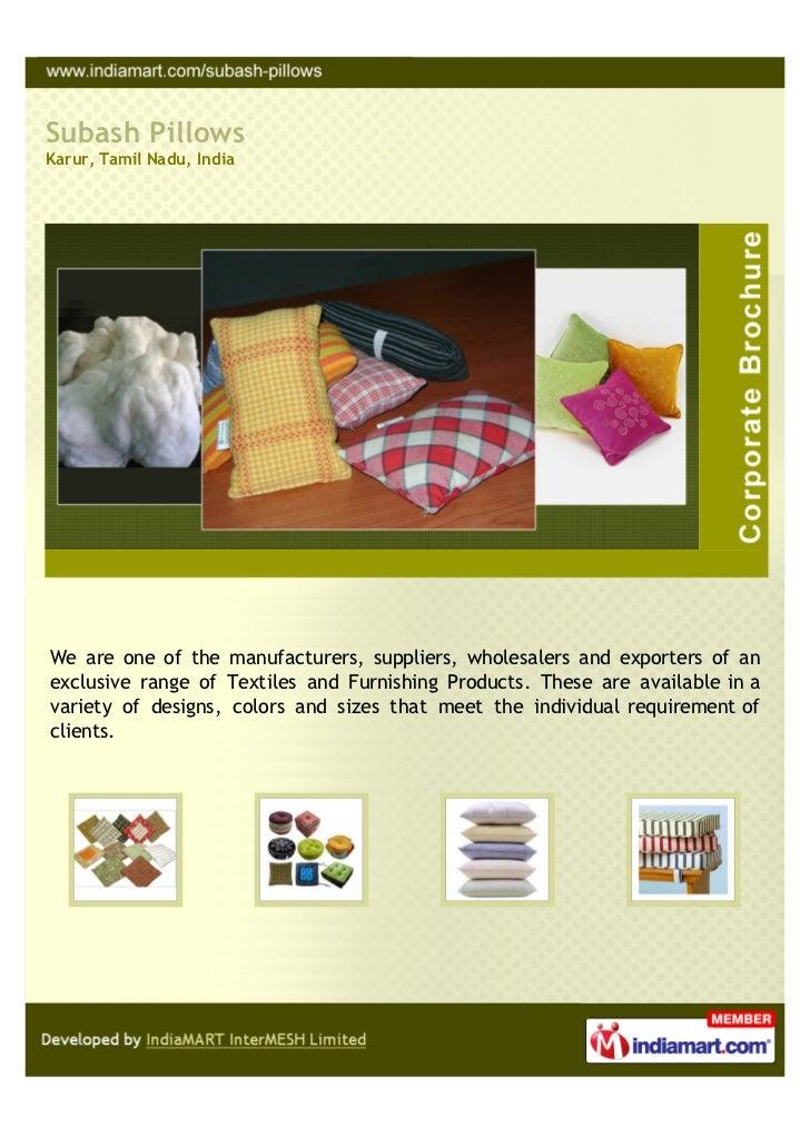 Subash Pillows, Karur, Textile Products