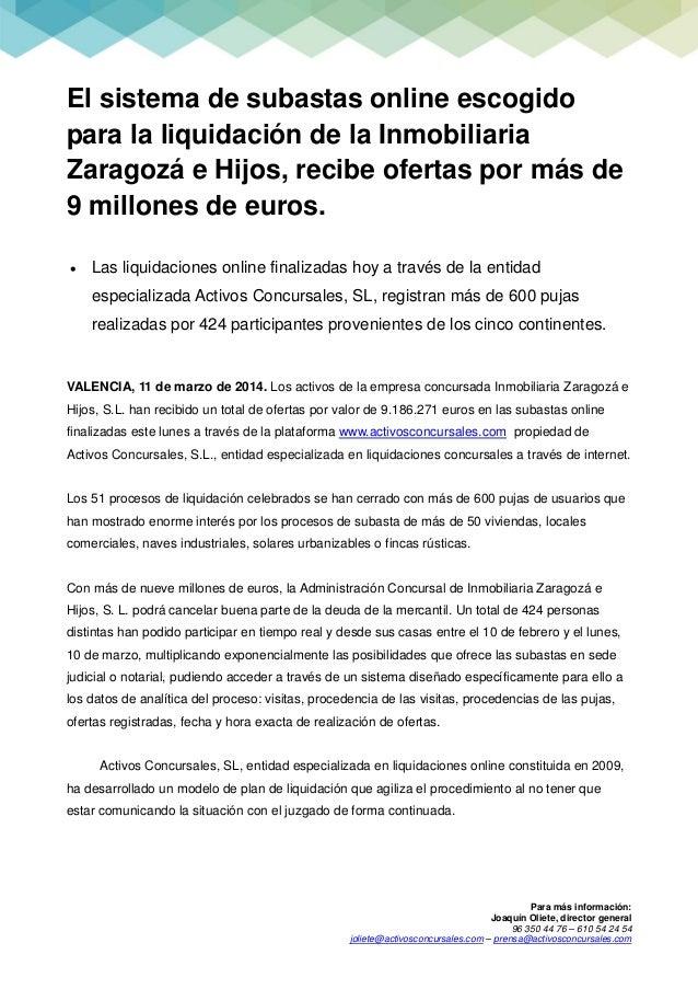 Para más información: Joaquín Oliete, director general 96 350 44 76 – 610 54 24 54 joliete@activosconcursales.com – prensa...