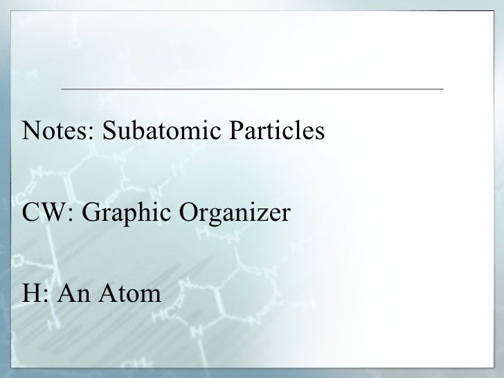 Notes: Subatomic Particles  CW: Graphic Organizer  H: An Atom
