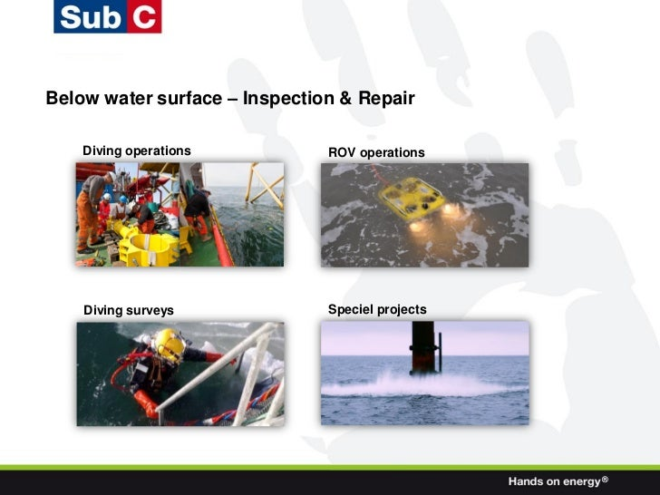 Below water surface – Inspection & Repair    Diving operations          ROV operations    Diving surveys             Speci...