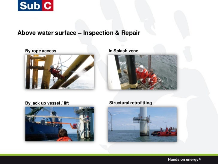 Above water surface – Inspection & Repair  By rope access              In Splash zone  By jack up vessel / lift    Structu...