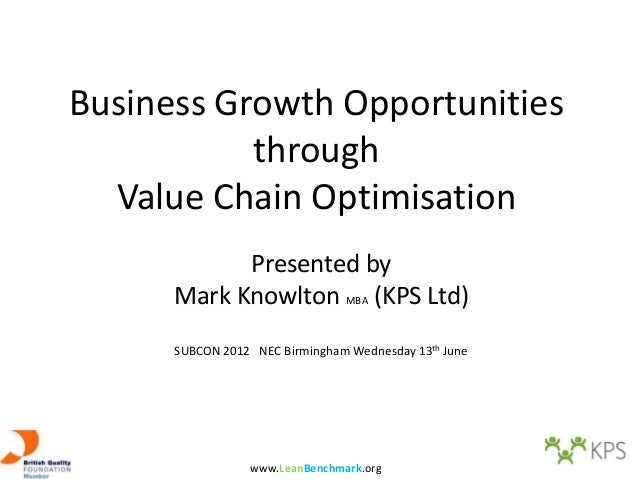 Business Growth Opportunities           through  Value Chain Optimisation            Presented by      Mark Knowlton MBA (...