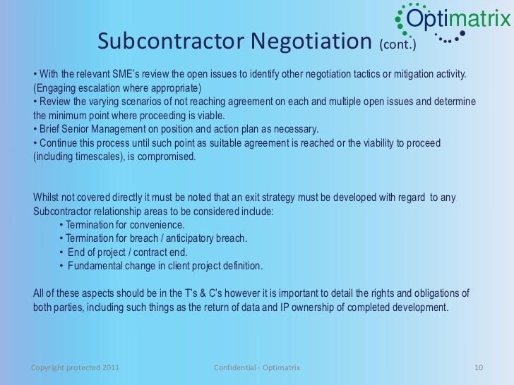Subcontractor management guidlines copyright protected 2011 confidential optimatrix 9 10 optimatrix subcontractor platinumwayz