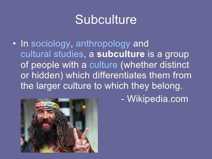 sociology and subcultures Buy comparative youth culture: the sociology of youth cultures and youth subcultures in america, britain and canada 1 by mike brake (isbn: 9780415051088) from.