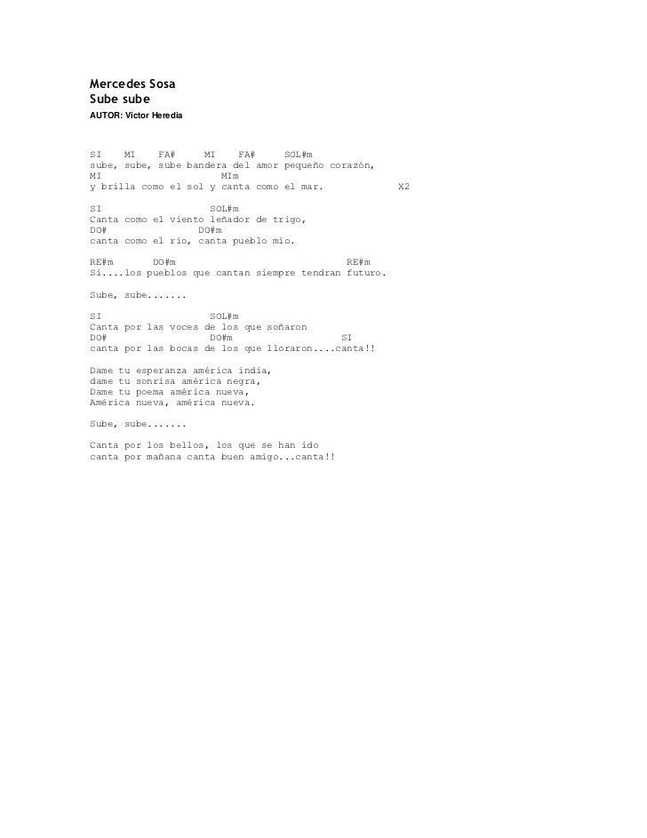 Mercedes SosaSube subeAUTOR: Victor HerediaSI    MI    FA#     MI     FA#    SOL#msube, sube, sube bandera del amor pequeñ...