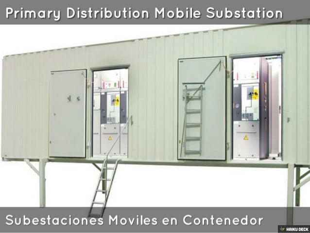 "Primarg Distribution Mobile Substation  _ .  J- . §'. :'= -1: :93""-""""'       Subestaciones Moviles en Contenedor  ' HIIIKU..."