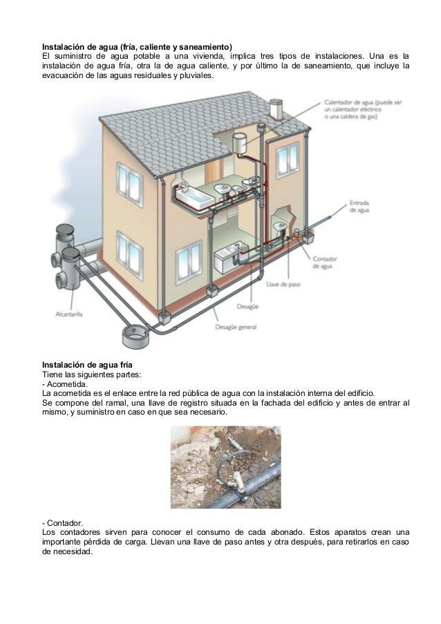 Instalación de agua (fría, caliente y saneamiento)El suministro de agua potable a una vivienda, implica tres tipos de inst...
