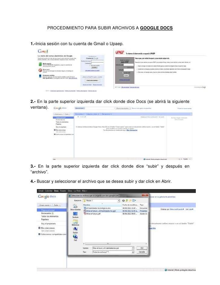 PROCEDIMIENTO PARA SUBIR ARCHIVOS A GOOGLE DOCS<br />223520429260002929255426720001.- Inicia sesión con tu cuenta de Gmail...