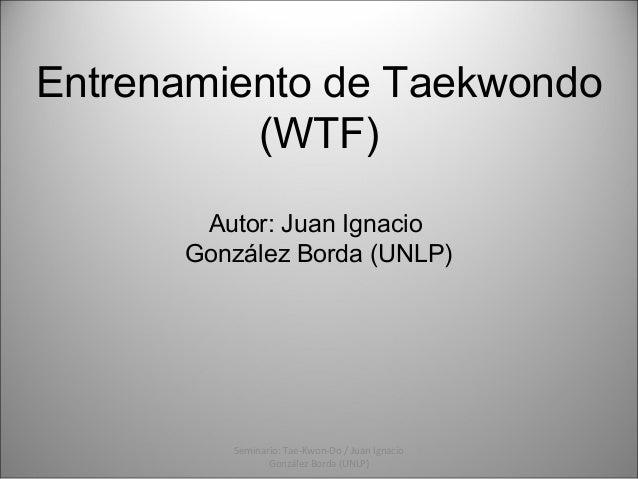 Entrenamiento de Taekwondo (WTF) Autor: Juan Ignacio González Borda (UNLP)  Seminario: Tae-Kwon-Do / Juan Ignacio González...