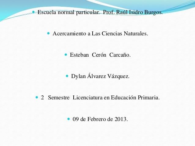  Escuela normal particular. Prof. Raúl Isidro Burgos.       Acercamiento a Las Ciencias Naturales.              Esteban...