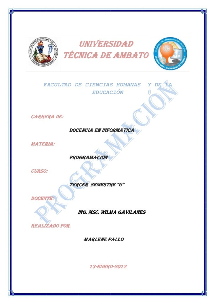 UNIVERSIDAD           TÉCNICA DE AMBATO    FACULTAD DE CIENCIAS HUMANAS             Y DE LA                  EDUCACIÓNCARR...