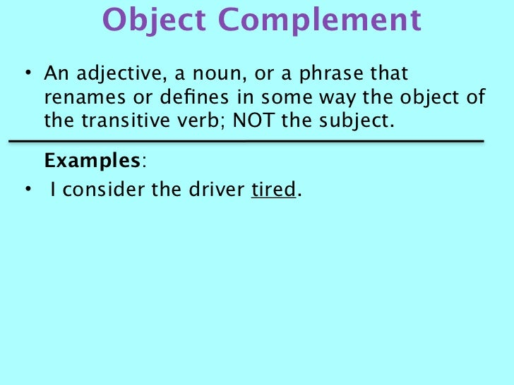 Subject And Object Complement