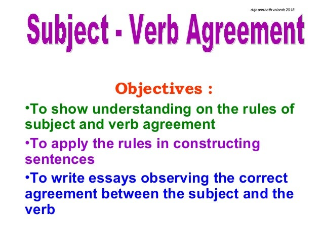 Subject Verb Agreement Dranneath D Velarde